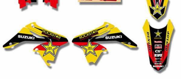 Kit deco XPARTS SUZUKI RMZ 250 10-18. Crédits : ©accessoires-moto-enduro-cross.fr 2017
