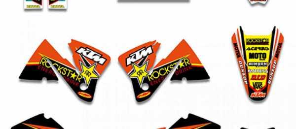 Kit déco XPARTS KTM EXC/EXCF 01-02. Crédits : ©accessoires-moto-enduro-cross.fr 2016