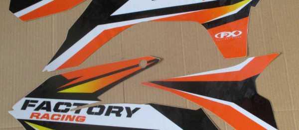 Kit déco FX KTM SX/SXF 13-15 EXC/EXCF 14-16. Crédits : ©accessoires-moto-enduro-cross.fr 2016