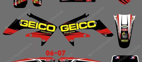 Kit déco XPARTS GEICO HONDA CRF 250 06-07. Crédits : ©accessoires-moto-enduro-cross.fr 2015