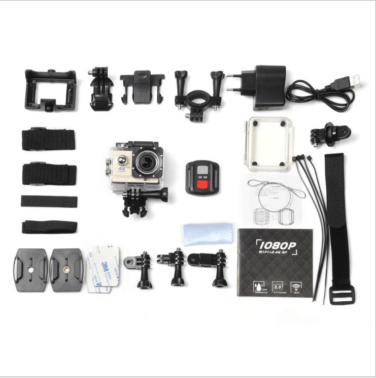 Caméra 4K Sport avec boîtier transparent. Crédits : ©accessoires-moto-enduro-cross.fr 2018
