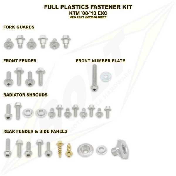 Kit visserie BOLT KTM EXC/EXCF 08-11. Crédits : ©EMX