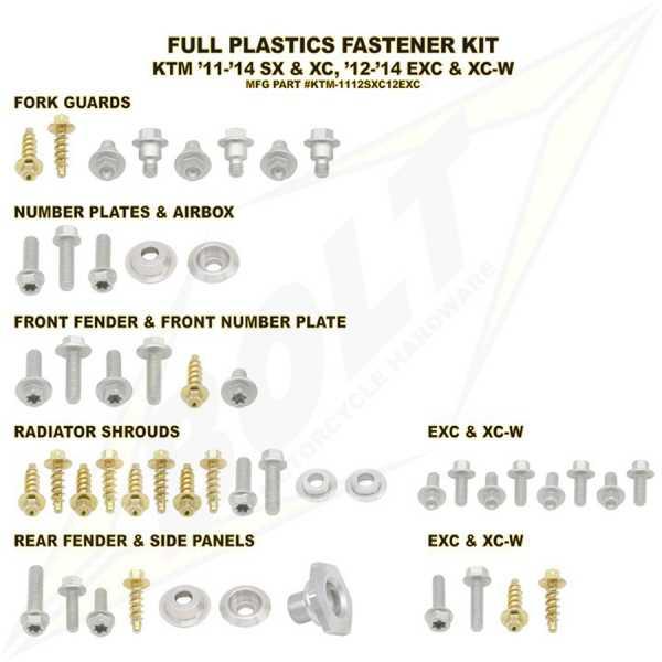 Kit visserie BOLT KTM EXC/EXCF 12-16. Crédits : ©EMX