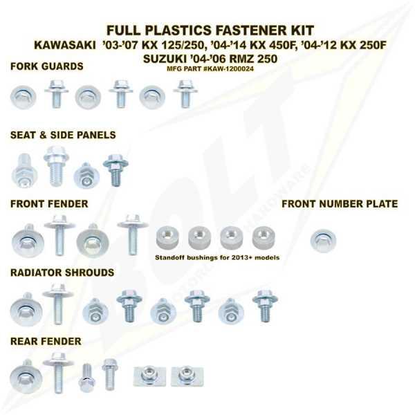 Kit visserie BOLT KXF 250 04-16. Crédits : ©EMX