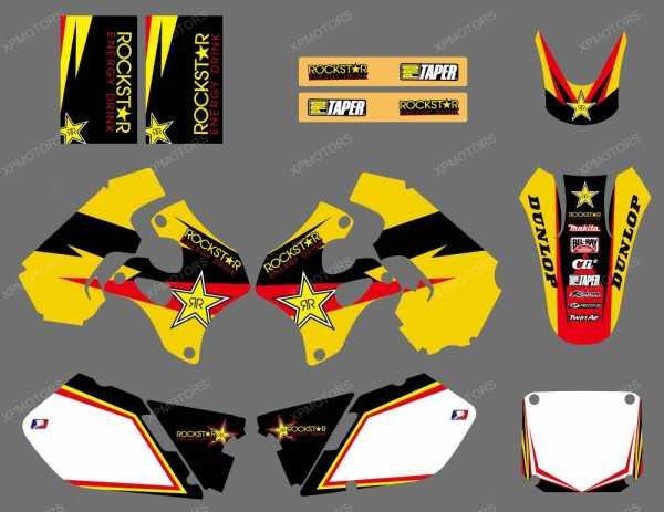 Kit déco XPARTS SUZUKI RM 125/250 96-98. Crédits : ©accessoires-moto-enduro-cross.fr 2015