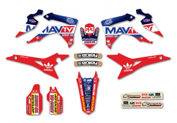 KIT DECO REPLICA TROY LEE DESIGN MA TV HONDA CRF 250 14-16 450 13-15. Crédits : ©accessoires-moto-enduro-cross.fr 2018